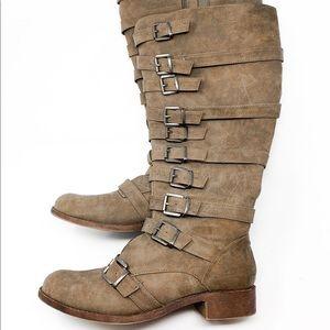 Torrid Tan Faux Suede Multi Strap Wide Calf Boots